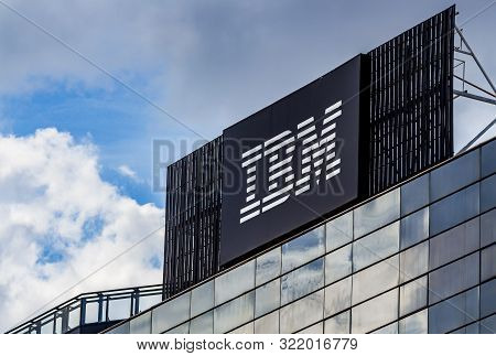Bucharest, Romania - September 11, 2019: The Ibm Logo Is Seen On The Top Of The Ibm Gdc Romania Head