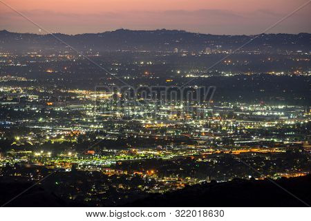 Early morning view towards Sherman Oaks and Chatsworth in the San Fernando Valley area of Los Angeles, California.