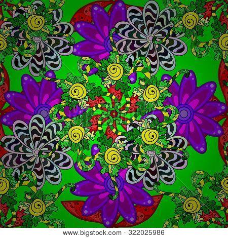 Seamless Pattern Elegant Decorative Ornament For Fashion Print, Scrapbook, Wrapping Paper, Wallpaper