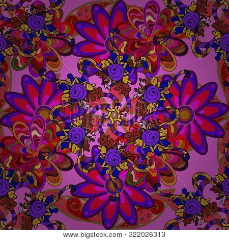 Nice Background. Doodles Cute Pattern. Raster - Stock. Red, Pink And Violet On Colors. Seamless Beau