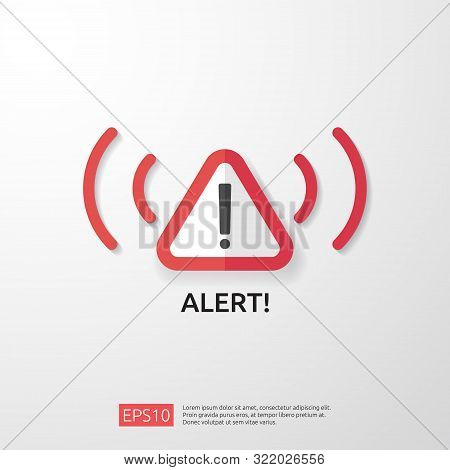 Attention Warning Attacker Alert Sign With Exclamation Mark. Beware Alertness Of Internet Danger Sym