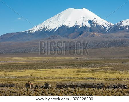 Parinacota Volcano. High Andean Tundra Landscape In The Mountains Of The Andes. The Weather Andean H