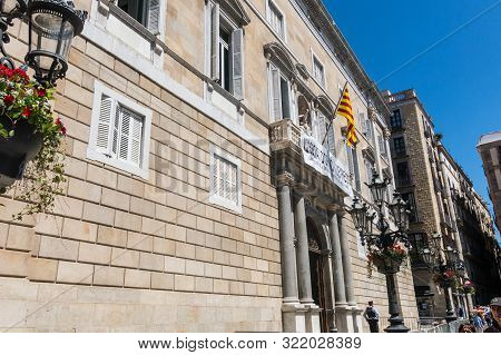 Barcelona, Spain - May 10, 2019: Generalitat Palace Of Catalonia In Barcelona. The Palace House The