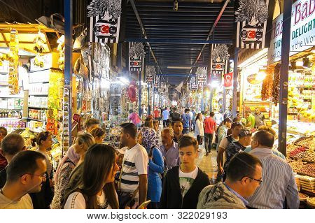 Istanbul, Turkey - May 20, 2016: The Istanbul Grand Bazaar Is The Most Famous Oriental Covered Marke