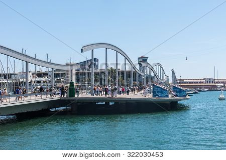 Barcelona - June 16, 2019: The Port Of Barcelona, At The End Of The Ramblas In The Photo, The Rambla