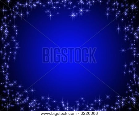 dark blue card with the image of stars on edges poster