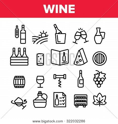 Wine Product Collection Elements Vector Icons Set Thin Line. Wine Bottle And Glasses, Barrel And Car