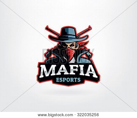 Gangster Mascot Logo With Man In Bandana And Crossed Gun. Man With Fedora Hats And Suits Vector. Maf