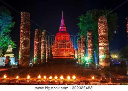 Beautiful Scene Of The Light Color Sukhothai Co Lamplighter Loy Kratong Festival At The Sukhothai Hi