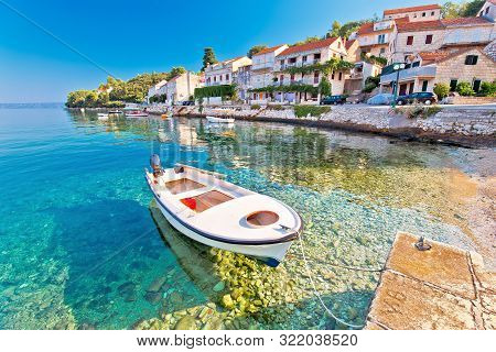 Idyllic Coastal Village Of Racisce On Korcula Island Waterfront View, Southern Dalmatia Region Of Cr