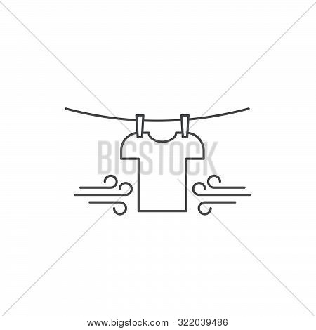 T-shirts Hanging On A Clothesline Vector Icon Symbol Isolated On White Background