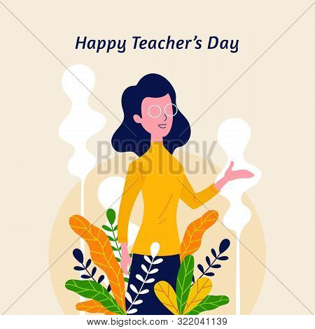 Happy Teacher's Day With Nature Flower Leaf Ornament Decoration Background Poster. Woman Teacher Wit