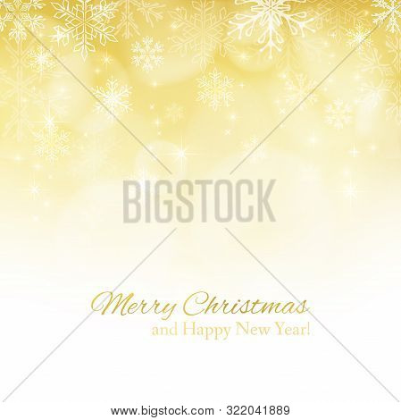 Abstract Christmas Background With Snowflakes And Place For Text. Gold Abstract Background. Vector I