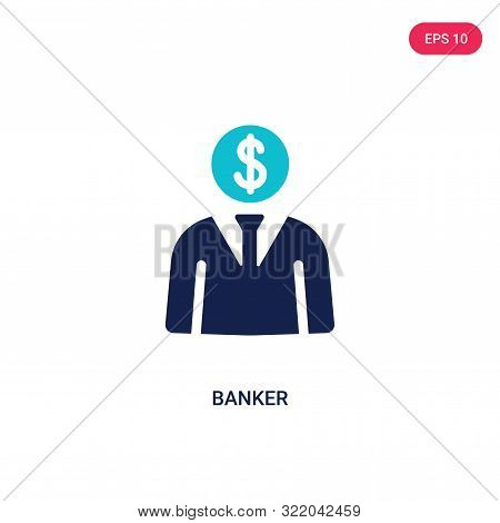banker icon in two color design style. poster