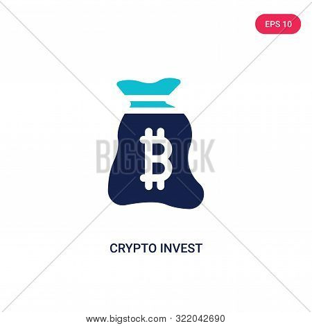 poster of crypto invest icon in two color design style.