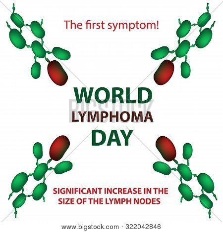 World Lymphoma Day. Increase in the size of the lymph nodes. illustration on isolated background poster