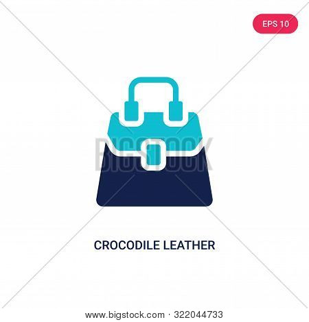 crocodile leather bag icon in two color design style.