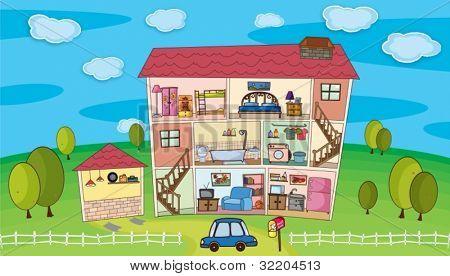 Illustration on inside a house