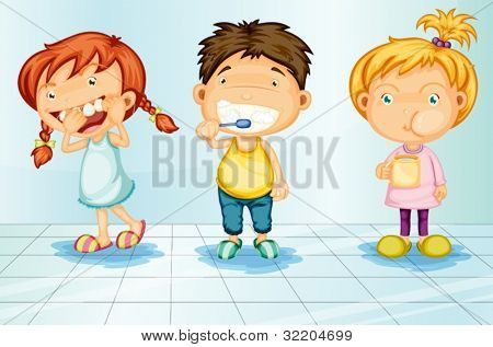 Kids caring for teeth illustration