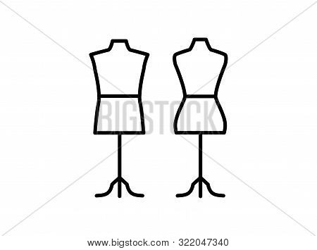 Male & Female Dressmaking Mannequin With Tripod Base Stand. Sign Of Tailor Dummy. Display Model, Bod