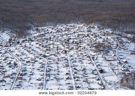 Typical Russian summer cottage settlement