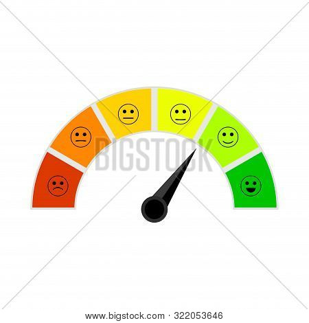 Credit Score Indicator With Colorful Segments. Vector Meter Rating Indicator, Arrow Point To Excelle