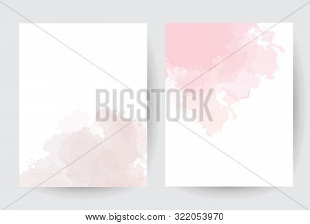 Dusty Pink And Taupe Watercolor Vector Splash Cards.simple Minimalist Backgrounds, Hand-drawn Waterc