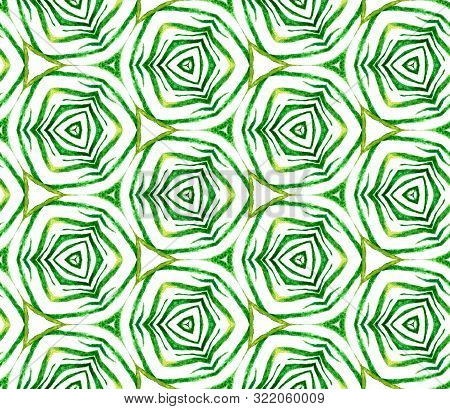 Green Tropical Seamless Pattern. Hand Drawn Watercolor Ornament. Marvelous Repeating Tile. Wonderful