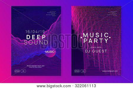 Sound Flyer. Geometric Concert Invitation Set. Dynamic Fluid Shape And Line. Neon Sound Flyer. Elect