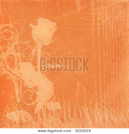 Orange Retro Background With Beautiful Rose And  Grass