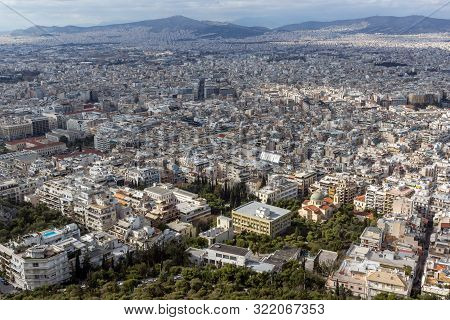 Panorama Of The City Of Athens From Lycabettus Hill, Attica, Greece