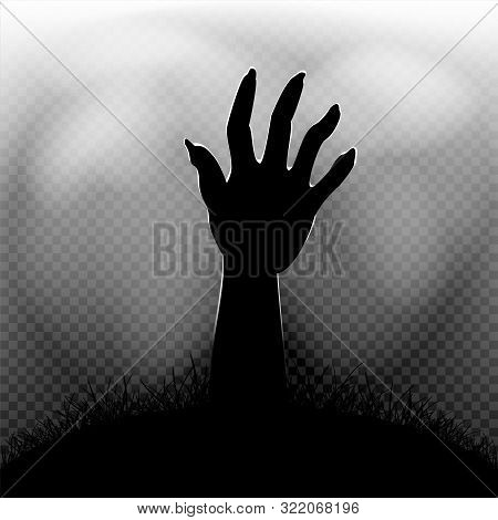 Halloween Zombie Hand In Dark Grass Silhouette And Transparent Fog On Background