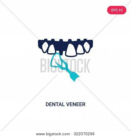 dental veneer icon in two color design style.