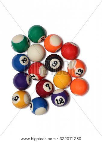 Billiard balls on white background