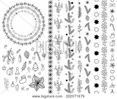 Set Of Winter Holiday Icons And Seamless Borders: Plants, Floral Elements, Toys, Symbols. Collection