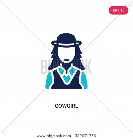 cowgirl icon in two color design style.
