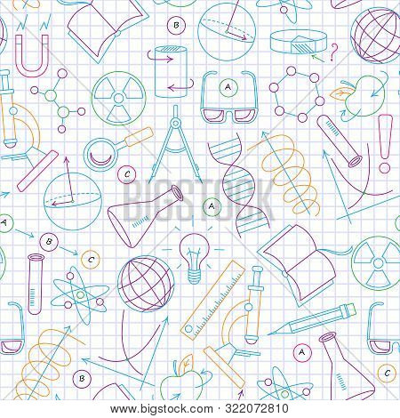 Seamless Pattern On The Theme Of Science And Inventions, Diagrams, Charts, And Equipment,a Simple Co