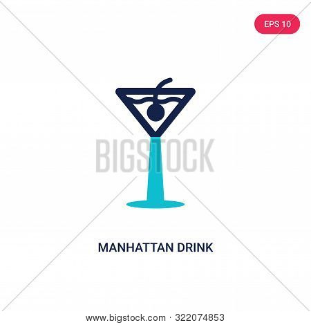 manhattan drink icon in two color design style.