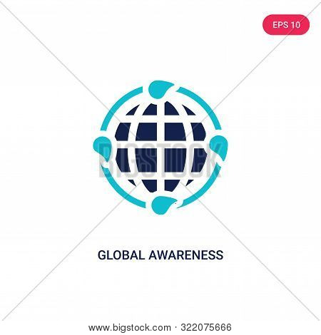 global awareness icon in two color design style.