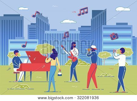 Street Musicians Band Performance, Passersby Photo Record Video Vector Illustration. People Perform