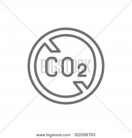 No Carbon Emissions, Co2 Emissions Sign Line Icon.