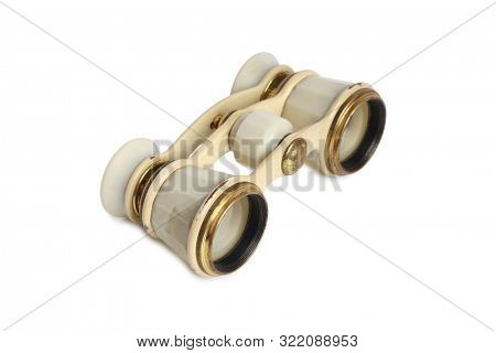 Vintage theater binoculars on a white background