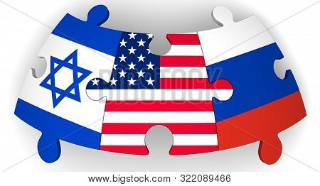 Cooperation Of Usa, Russia And Israel. Puzzles With Flags Of United States Of America, Russian Feder