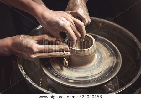 Creating Vase Of White Clay Close-up. Master Crock.