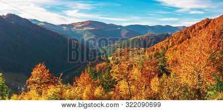 Great Panoramic View Of Romania Mountain Landscape. Forested Slopes In Evening Light. Deciduous Tree
