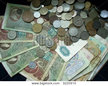 Retro Soviet Banknotes And Coins