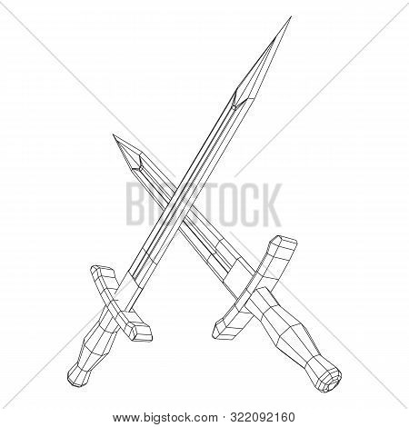 poster of Blade tactical combat hunting survival bowie knife. Model wireframe low poly mesh vector illustration