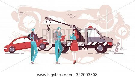 Car Service And Roadside Assistance Flat Cartoon Vector Illustration, Tow Truck, Support, Accumulato