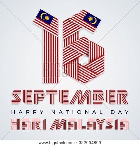 September 16, Malaysia National Day Congratulatory Design. Text Made Of Bended Ribbons With Malaysia