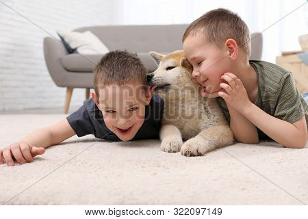 Happy Boys With Akita Inu Dog On Floor In Living Room. Little Friends